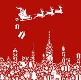 Christmas+icon+set+in+city+shape+with+Santa
