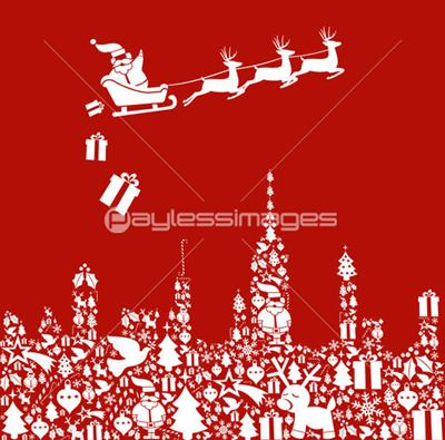 Christmas icon set in city shape with Santa